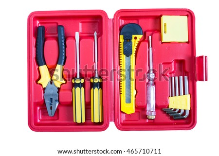 Tools in the red box isolated on white., clipping path included