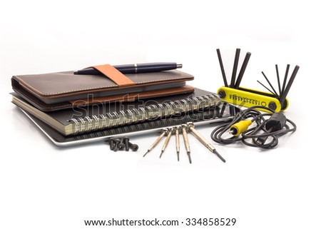 Tools kit with notebook, tablet and name card book - stock photo