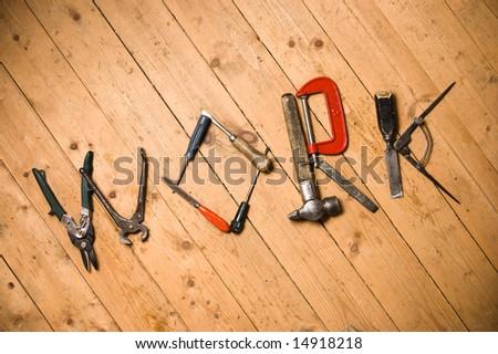 Tools lay on a floor - stock photo