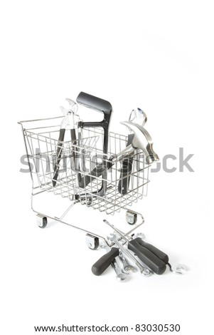 tools, many tools from toolbox inside mart trolley. - stock photo