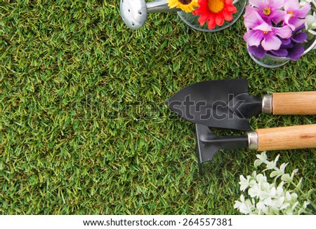 tools of gardening with turf - stock photo