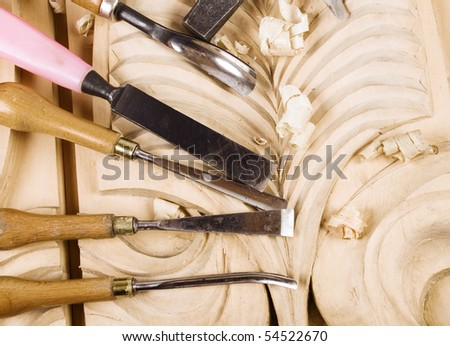 Tools of the woodcarver - stock photo