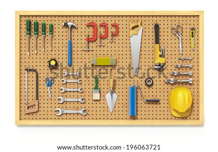 Tools on a Pegboard - stock photo