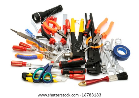 tools on a white background - stock photo