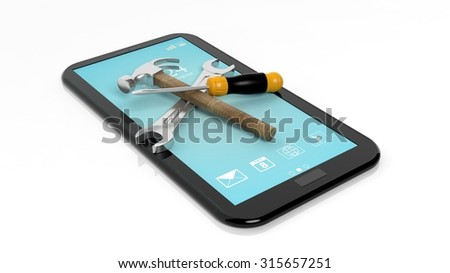 Tools on tablet,isolated on white background - stock photo