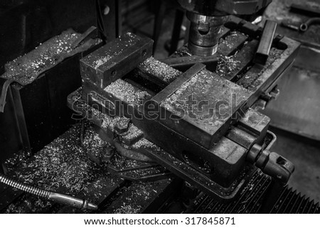Tools on textile background, Black and white photo
