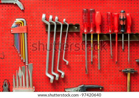 Tools on toolstable on the wall - stock photo