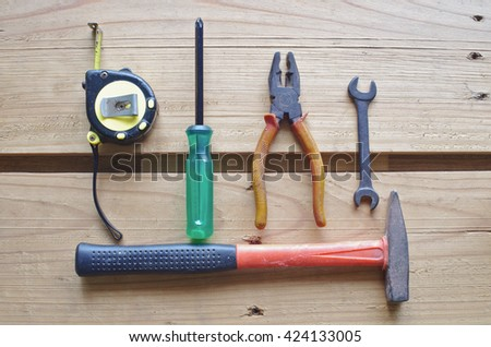tools on wood floor