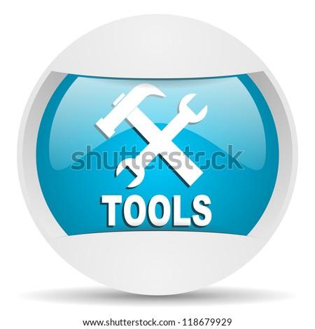 tools round blue web icon on white background - stock photo