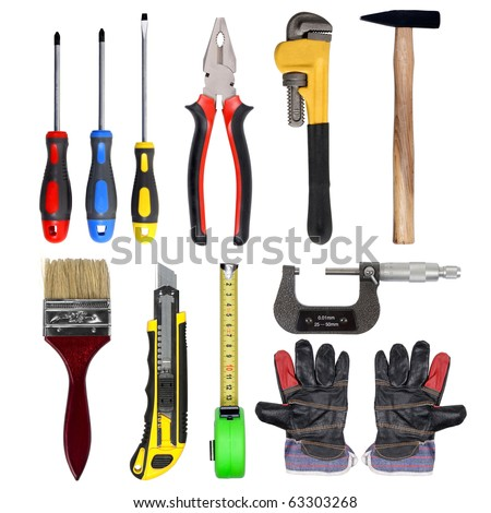 tools set isolated over white background