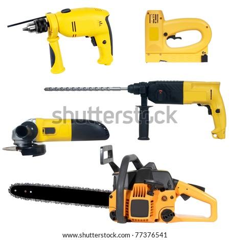 tools set isolated over white background - stock photo