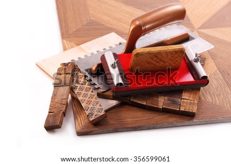 Tools tiler, tiles, mosaics made of wooden squares