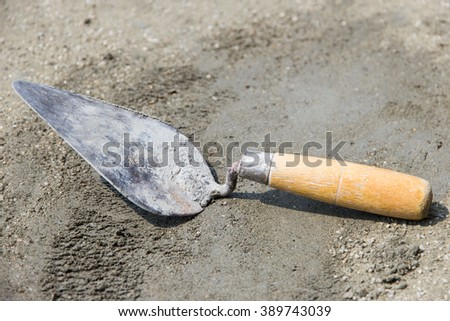 Tools used in plaster or masonry construction sites - stock photo