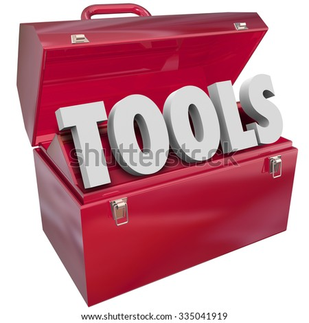 Tools word in 3d letters in red metal toolbox to symbolize skills, resources and capabilities - stock photo