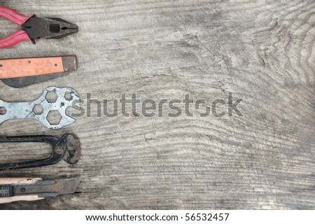 Tools, wrench, pliers, antique - stock photo