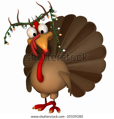 Toon Christmas Turkey with antlers, hanging lights, and a glowing red nose. Isolated on a white background. - stock photo