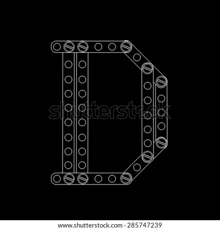 Toon letter (D) with rivets and screws isolated on black background  - stock photo