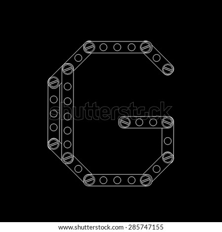 Toon letter (g) with rivets and screws isolated on black background  - stock photo