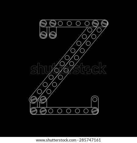 Toon letter (Z) with rivets and screws isolated on black background  - stock photo