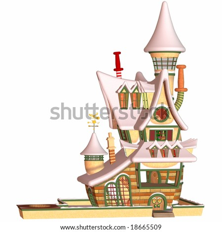 Toon Santa House - stock photo