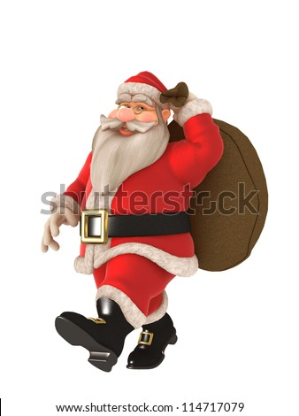 Toon Santa with twinkling eyes and glasses carrying toy sack - stock photo