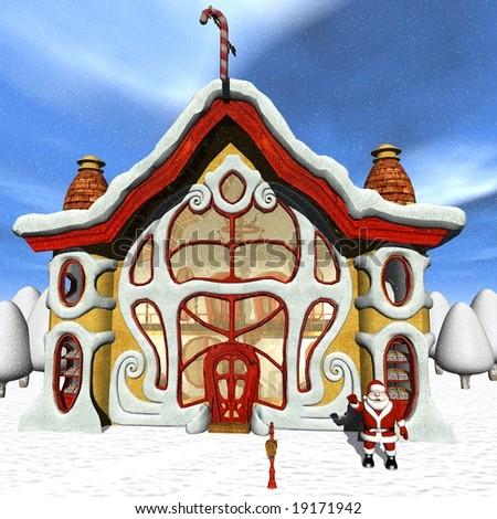 Toon Santas Candy Shop - stock photo