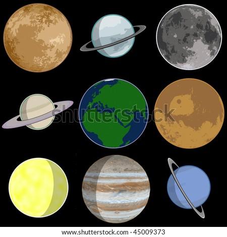 Toon solar system - stock photo