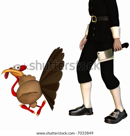 Toon Thanksgiving Turkey fleeing from a Pilgrim with a cleaver. Isolated on a white background. - stock photo