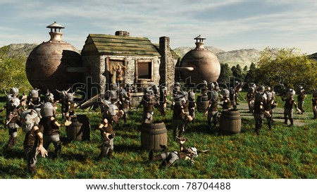 Toon Viking Dwarf Horde drinking at a fantasy medieval style brewery in front of a worried brewery owner, 3d digitally rendered illustration - stock photo