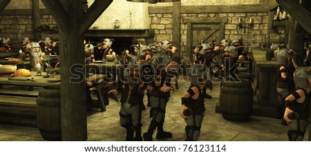 Toon Viking Dwarf Horde drinking in a fantasy medieval style tavern, 3d digitally rendered illustration - stock photo