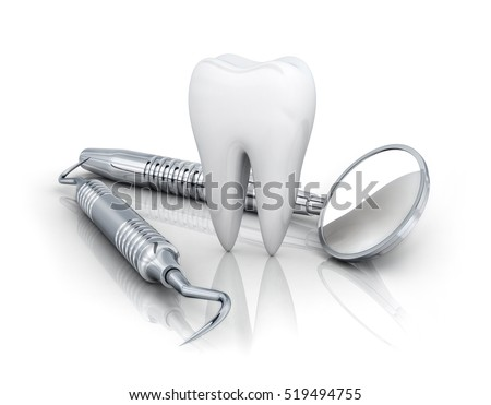 tooth and dental tools on white background. 3d illustration