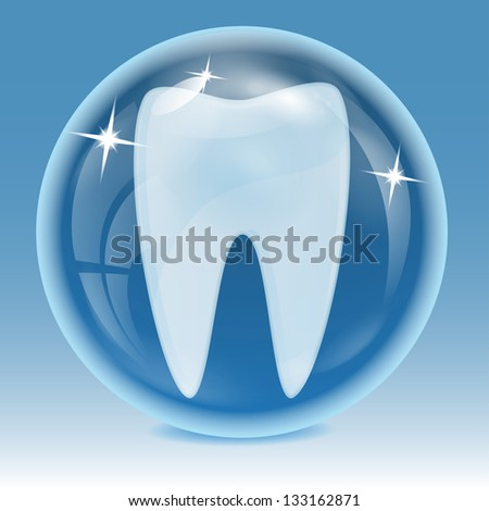 tooth being into a blue sphere on a blue background.raster copy of vector file