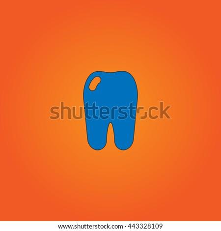 Tooth Blue flat icon with black stroke on orange background. - stock photo