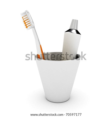 Tooth brush and paste in cap over white background