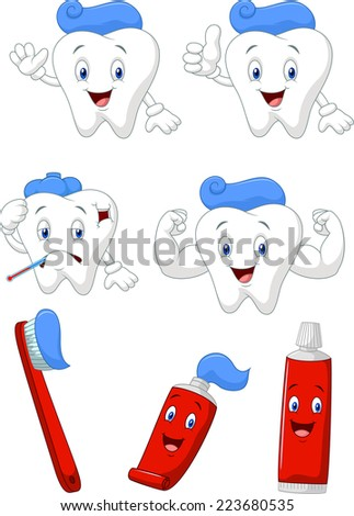 Tooth, brush and tooth paste cartoon character collection - stock photo