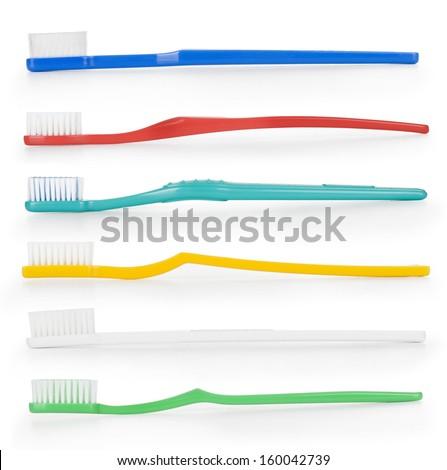 Tooth brush set isolated on white background.  - stock photo