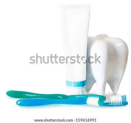 Tooth brushes with mint, tooth paste and dental floss isolated on white. Stomatology equipment and dental care - stock photo