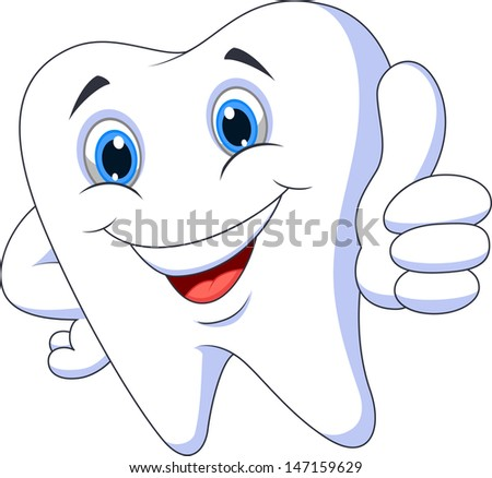 Tooth cartoon with thumb up - stock photo