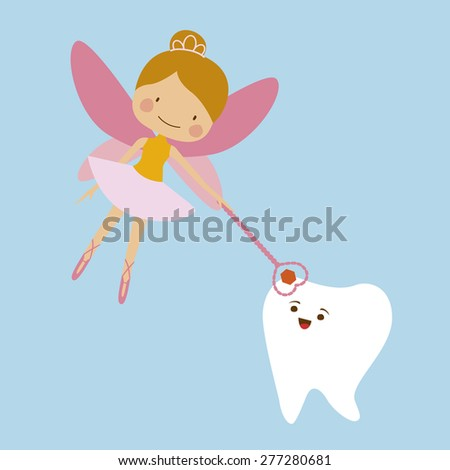 Tooth fairy and tooth mascot Illustration Raster version - stock photo