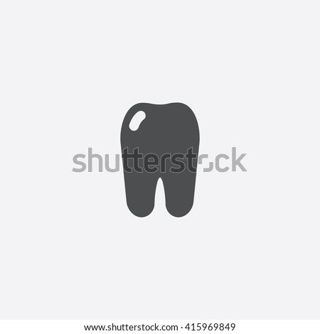 Tooth Flat icon on white background. - stock photo