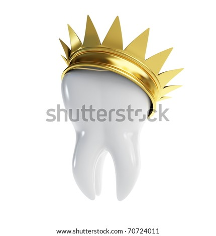 tooth gold crown on a white background - stock photo