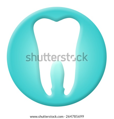 Tooth icon and dental over white background. 3d render - stock photo