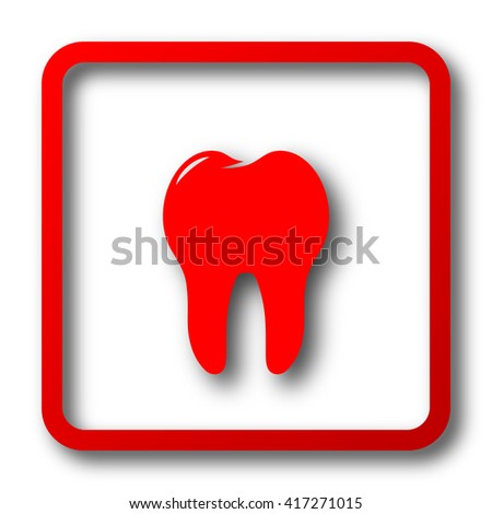 Tooth icon. Internet button on white background.