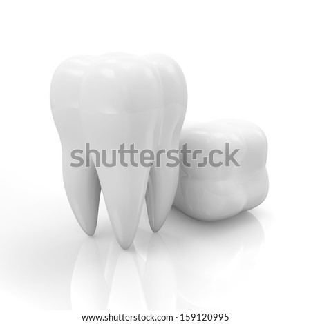Tooth isolated on white reflective background - stock photo
