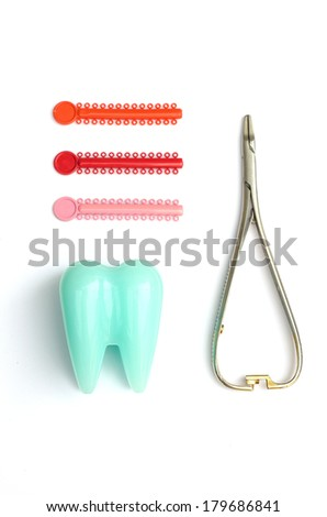 Tooth model, orthodontics ring and forceps