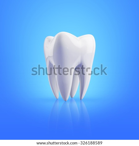 tooth on a blue background - stock photo