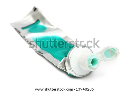 Tooth paste on white background. - stock photo