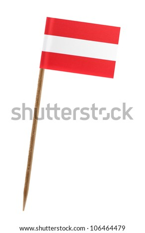 Tooth pick wit a small paper flag of Austria - stock photo