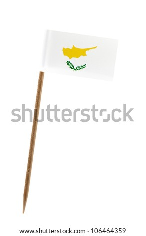 Tooth pick wit a small paper flag of Cyprus - stock photo