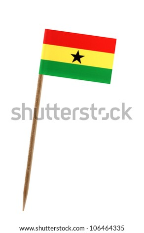 Tooth pick wit a small paper flag of Ghana - stock photo